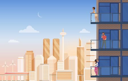 Apartment balcony with city view vector illustration. Cartoon flat couple people, man woman characters rest and relax, enjoy panoramic urban cityscape with beautiful modern building, office skyscraper Vecteurs