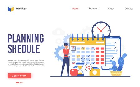Planning schedule vector illustration. Cartoon flat businessman character makes plan of business work task in organizer reminder or planner. Interface website design for scheduling, timing strategy