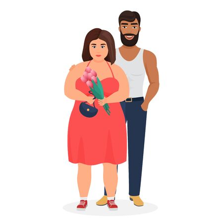 Strong dark skin man and curvy fat caucasian woman couple characters flat vector illustration. Lovely family portrait, unequal marriage, love against stereotypes, strange couple.