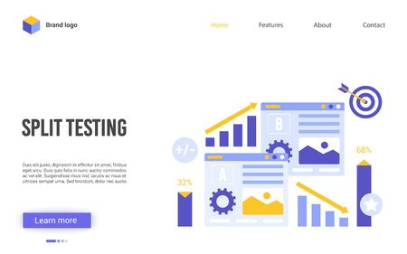 Split testing vector illustration. Cartoon flat website interface design for online service of conversion rate business optimization, AB test, researches A-B comparison analytics, choose better result Vettoriali