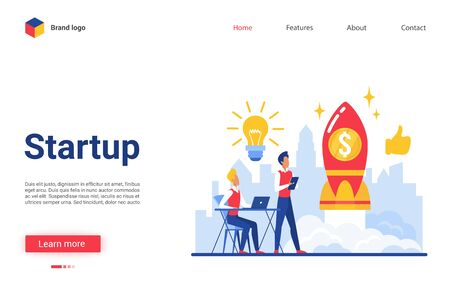 Business startup vector illustration. Cartoon flat website interface design with businessman characters launches rocket into sky together, planning successful project. Start up idea launching process