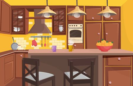 Traditional classic wooden kitchen interior flat cartoon game style vector illustration. Sunny bright space, window with nice curtains, compact situated furniture, household appliances Иллюстрация
