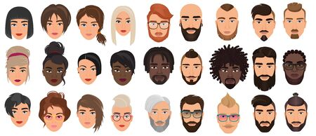 Woman man characters, facial portraits vector illustration set. Cartoon flat adult people heads with different faces or hair, nationality and races, fashionable and stylish hairstyle isolated on white