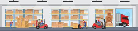 Warehouse logistic service vector illustration. Cartoon flat worker people working in storage interior, driving loader forklift to load box and container into pallet, storehouse building background