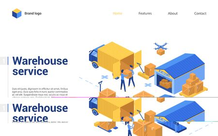 Isometric warehouse delivery logistic service vector illustration. Cartoon 3d interface design for website with worker characters working in storage of warehousing company, loading boxes on truck van