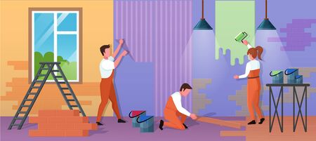 Repair home service vector illustration. Cartoon flat repairman worker people work on house renovation, paint wall with roller, glue wallpaper. Handyman characters group repairing building background Ilustração