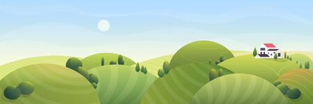 Sunny summer rural landscape vector illustration. Cartoon comic flat farm house with red roof, stylized rounded farmland field on green grass half round hills. Countryside nature fantasy background