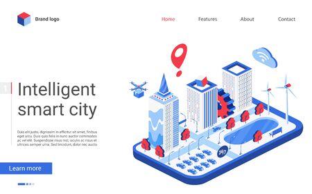 Isometric smart city vector illustration. Website interface 3d modern design with futuristic cityscape infrastructure, automation of office building, intelligent digital technology, cyber house system Ilustração Vetorial