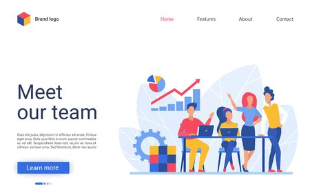 Business people teamwork vector illustration. Website interface creative design with cartoon flat businessman and businesswoman corporate team meeting in office, working together on profit growth