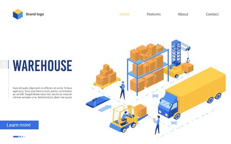 Isometric delivery logistic service vector illustration. 3d interface website design with cartoon worker characters work on loader forklift, load pallet boxes in truck, loading process in warehouse