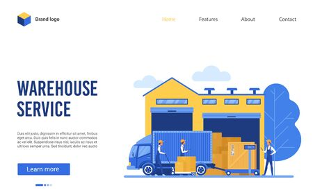 Warehouse delivery logistic service vector illustration. Cartoon flat website interface design for warehousing business company with worker characters loading boxes on delivering shipping truck van