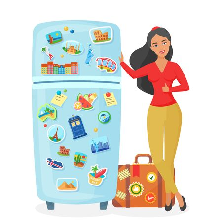 Traveler young pretty woman showing fridge with souvenir famous places magnets flat vector illustration. Travel agency concept.