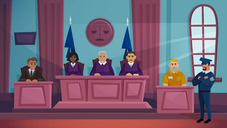 Court of law justice vector illustration. Cartoon flat courtroom interior with judge, lawyer prosecutor and criminal characters sitting on public crime proceeding tribunal in courthouse background