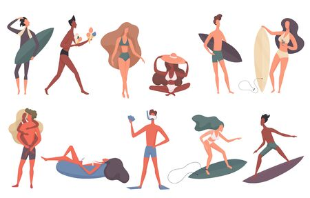 Beach people vector illustration set. Cartoon flat man woman swimming in sea, sunbathing, surfer character surfing, standing walking with surfboard on tropical summer seaside beach isolated on white