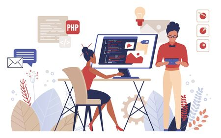 People programming vector illustration. Cartoon flat man woman programmer developers work, coder characters create program software, modern technology developing, tech coding process isolated on white