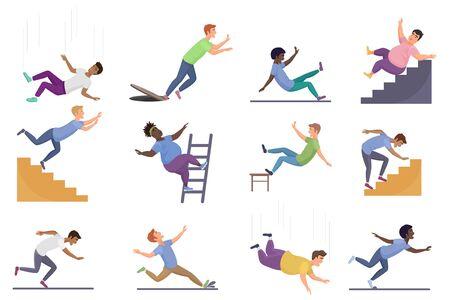 Ensemble d'illustrations vectorielles de personnes qui tombent. Les personnages de dessin animé plat homme femme tombent d'une échelle ou d'un escalier glissant, d'un escalier humide. Accident public avec risque pour la vie, icônes d'avertissement isolés sur blanc