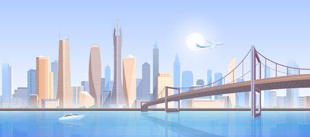 City bridge landscape vector illustration. Cartoon flat modern futuristic metropolis concept, downtown cityscape with high buildings construction skyscrapers, bridge infrastructure, flying air plane