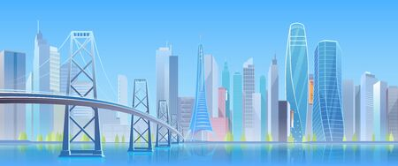 City bridge vector illustration. Cartoon flat modern urban blue futuristic skyline, cityscape with tower skyscrapers in downtown, highway bridge over water. Future waterfront landscape view background Illusztráció