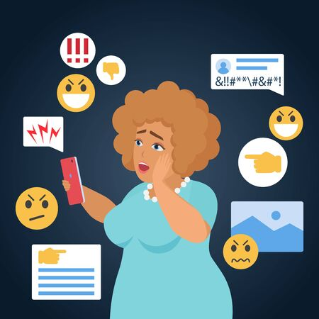 Cyber bullying people vector illustration. Cartoon flat sad bullied fat woman character has cyber bully mockery problem in online social media, reading internet hate messages in smartphone background