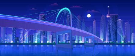 City bridge at night vector illustration. Cartoon flat modern urban neon futuristic skyline, cityscape tower skyscrapers downtown, highway bridge over water. Future waterfront landscape background Illusztráció