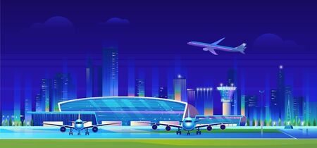 City airport at night vector illustration. Cartoon flat airport terminal modern building, airplanes waiting flight, aircrafts taking off and landing on runway, neon cityscape skyscrapers background.