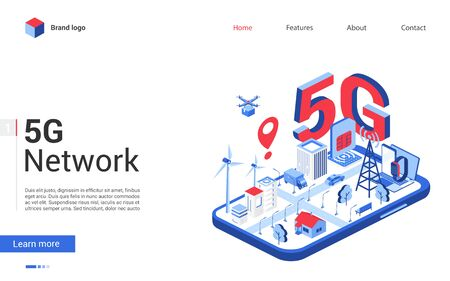 Isometric 5g network vector illustration. Modern concept banner, website design with cartoon 3d tech mobile networking technology for smart city, 5g high speed telecommunication wireless connection