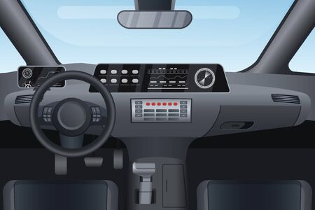 Car auto salon interior vector illustration. Cartoon flat details of front automobile dashboard black panel, window windshield, rudder steering wheel, mirror. Modern car vehicle inside view background Vectores
