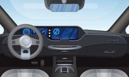 Ilustración de vector interior de coche auto salón. Dibujos animados de detalles planos del panel negro del tablero de instrumentos del automóvil delantero, parabrisas de la ventana, volante del timón, espejo. Fondo de vista interior de vehículo automóvil moderno Ilustración de vector