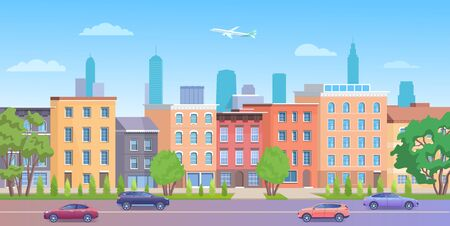 Architecture building in New York streets vector illustration. Cartoon flat urban NY skyline, panorama view of streetscape with classic facade brick houses, cars on road and empty sidewalk background Archivio Fotografico - 150170626
