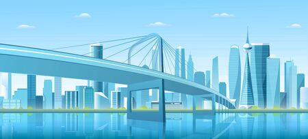 City bridge over water bay vector illustration. Cartoon flat modern new bridge to downtown futuristic metropolis, blue downtown cityscape with waterfront buildings, tower skyscrapers landscape view
