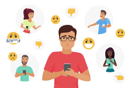 Cyber bullying people vector illustration. Cartoon flat young sad man character holding smartphone, unhappy depressed guy receiving bully hate messages in social media, cyber mockery isolated on white