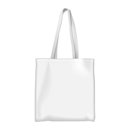 Full white Eco bag mock up vector illustration. Cartoon flat textile environment friendly shopper with eco bag lettering, ecological shopping handbag market purchases, save nature ecology isolated