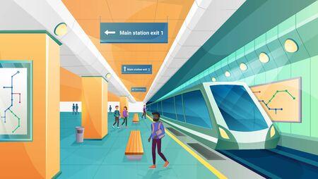 People in metro subway station vector illustration. Cartoon flat passenger character walking on modern underground transport platform, train waiting on railway, railroad city transportation background Vektorgrafik