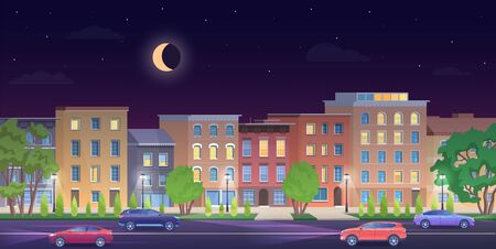 Architecture building in New York streets at night vector illustration. Cartoon flat urban NY skyline, panorama view of streetscape classic facade brick houses, cars on road, empty sidewalk background  イラスト・ベクター素材