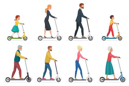 People on electric scooter set flat vector illustration. Male and female cartoon character riding ecologically clean urban vehicle. Family in formal, casual clothes using modern personal transporter  イラスト・ベクター素材