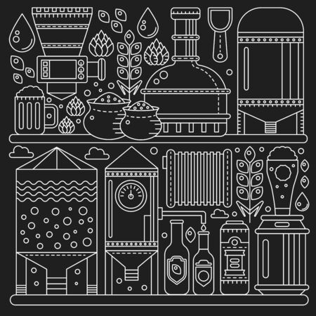 Beer Brewery production process conveyor. Line factory beer black background. October fest. Outline stroke linear style vector illustration.