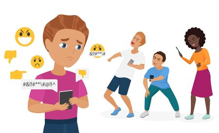 Cyber bullying people vector illustration. Cartoon flat sad bullied teen boy character holding smartphone with hate messages from schoolmates, cyber bully mockery problem in school isolated on white Vettoriali