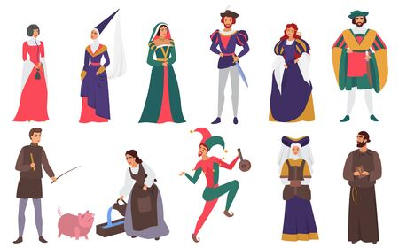Medieval people vector illustration flat set. Cartoon medieval person history collection of man woman characters in old historical aristocrat costumes, peasant farmer, priest, jester isolated on white