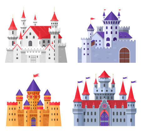 Medieval fort castle vector illustration set. Cartoon flat old fantasy kingdom collection of royal fairytale fortress for king and queen, fairy citadel, fortified palaces with gate isolated on white