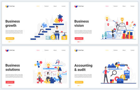 Business success solution vector illustration set. Creative concept banners for website design with commerce successful solutions for investment, business accounting, analysis of economic growth 矢量图像