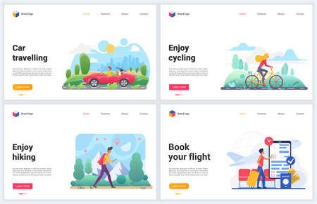 Transport for travel vacation vector illustrations. Creative concept banner set, website design for tourism with people travelers enjoy transportation, hiking or traveling by airplane, car and bike