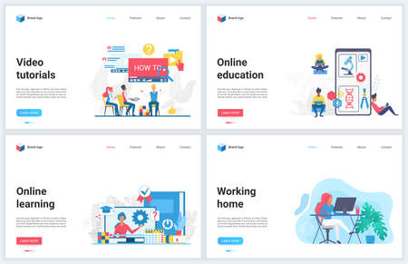 Online education and freelance work at home vector illustrations. Cartoon flat modern remote educational concept design template set with learning on digital training course, freelancer work from home Vectores