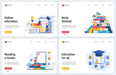 Online education technology vector illustrations. Creative concept interface website design, banners with flat cartoon educational mobile services for reading, distance training and student learning Vectores