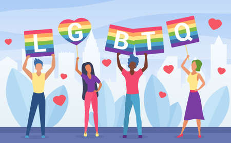 LGBT pride activism concept vector illustration. Cartoon flat homosexual activists people holding multicolored poster symbol of LGBT community, rainbow placards with LGBTQ word isolated on white