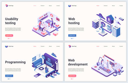 Web development and programming vector illustration. Modern concept interface design set for mobile website with cartoon 3d tiny programmer developer people working and testing computer program