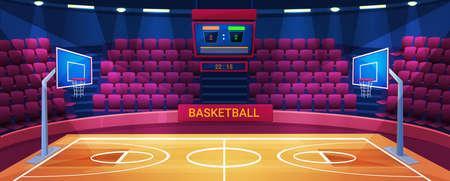 Empty basketball arena, sport stadium vector illustration. Cartoon flat court field interior with illumination, scoreboard screen for gamer team competition, basketball sport game equipment background Illustration