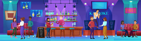 Karaoke nightlife bar vector illustration. Cartoon flat man woman people group drinking wine, young hipster character with microphone singing song at karaoke party in nightclub bar interior background