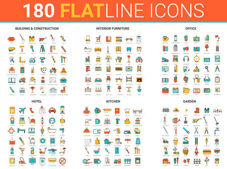Flat thin line icons, vector illustration creative modern design collection with city house building construction, interior furniture for home, hotel office or kitchen and garden tools outline set