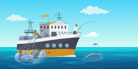 Fisher people in fishing vessel boat vector illustration. Cartoon flat commercial fishing industry background with fisherman working, catching fish seafood and using net. Ocean or sea nature landscape Illustration