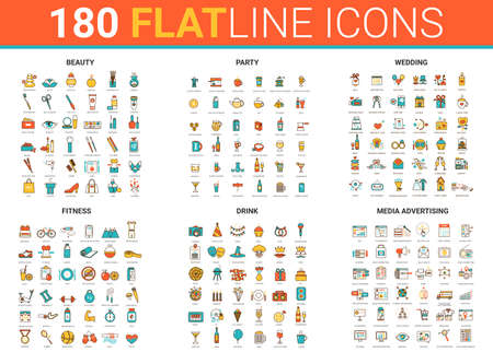 Flat thin line icons vector illustration set with beauty fashion salon symbols, fitness sport, wedding party entertainment and drink cocktails, social media advertising outline modern collection Ilustração